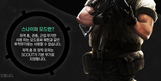 스나이퍼 모드란 저격총, 권총, 근접무기만 사용 하는 모드로써 폭탄과 같은 투척무기류는 사용할 수 없습니다